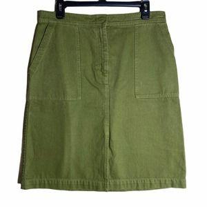 J.Crew Jeans Mini Skirt Olive Green 2pocket slit M
